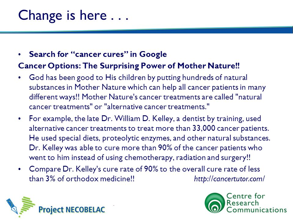 Change is here . . . Search for cancer cures in Google