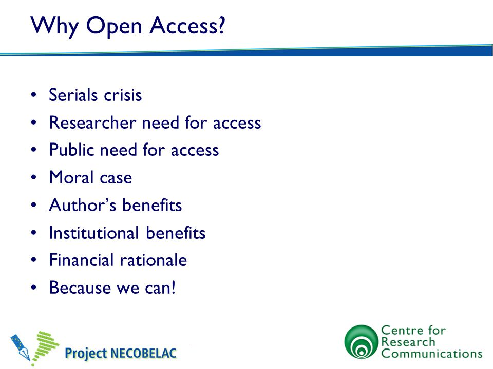 Why Open Access Serials crisis Researcher need for access