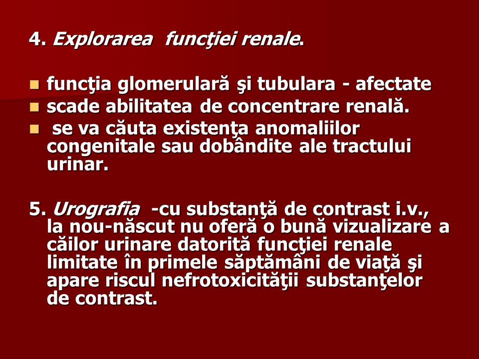 4. Explorarea funcţiei renale.