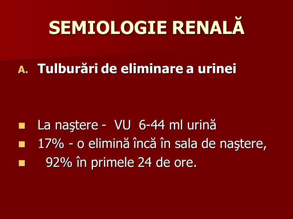 SEMIOLOGIE RENALĂ Tulburări de eliminare a urinei