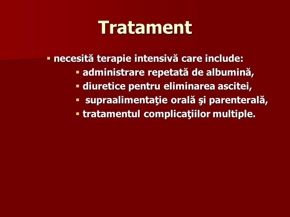 Tratament necesită terapie intensivă care include:
