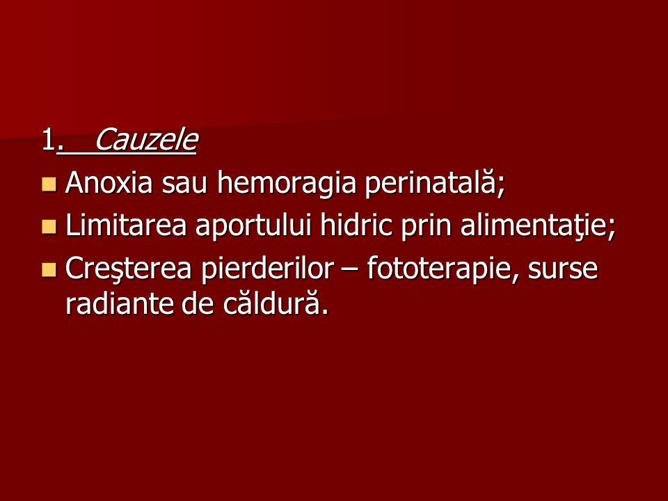 1. Cauzele Anoxia sau hemoragia perinatală; Limitarea aportului hidric prin alimentaţie;