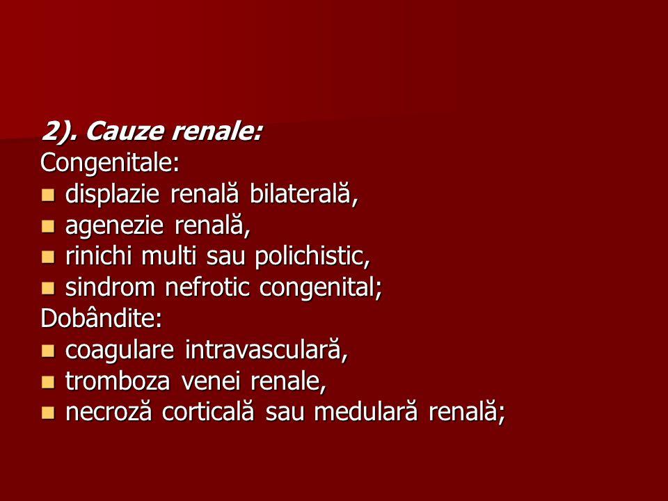 2). Cauze renale: Congenitale: displazie renală bilaterală, agenezie renală, rinichi multi sau polichistic,