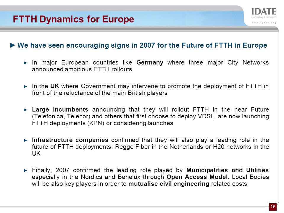 FTTH Dynamics for Europe