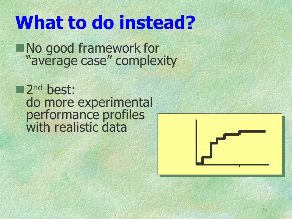 What to do instead No good framework for average case complexity