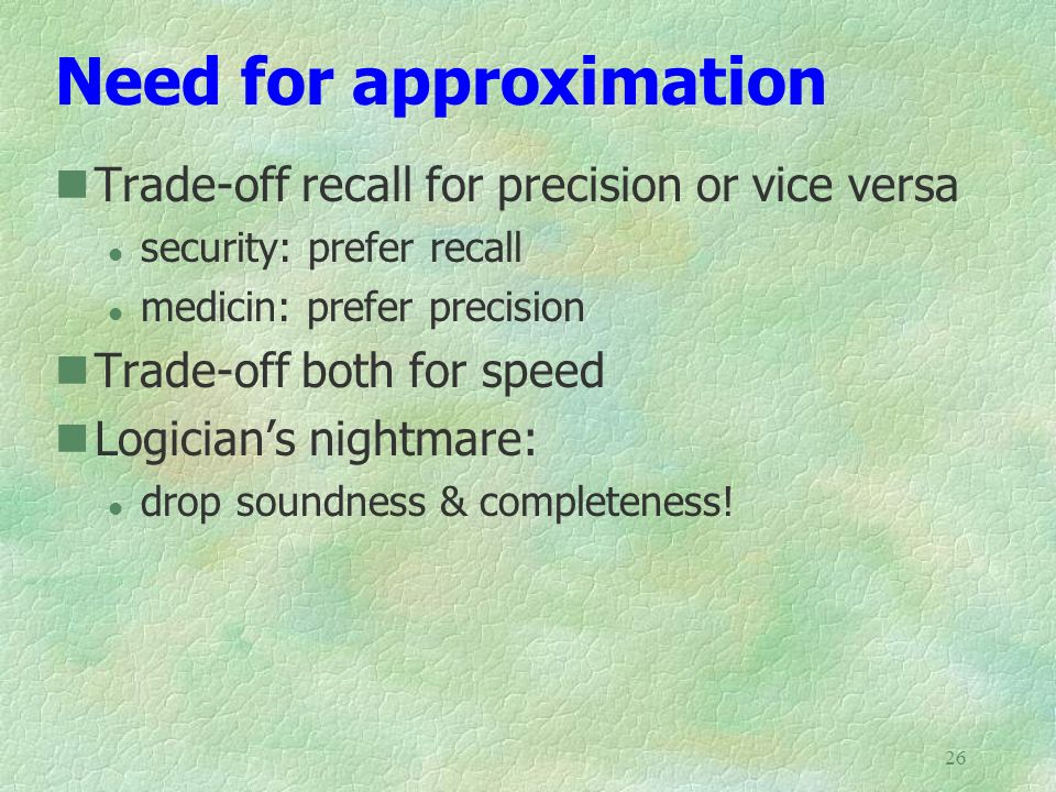 Need for approximation