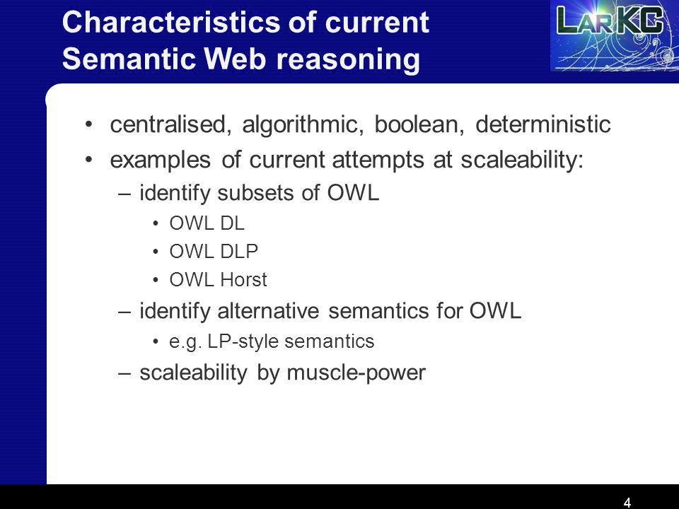 Characteristics of current Semantic Web reasoning