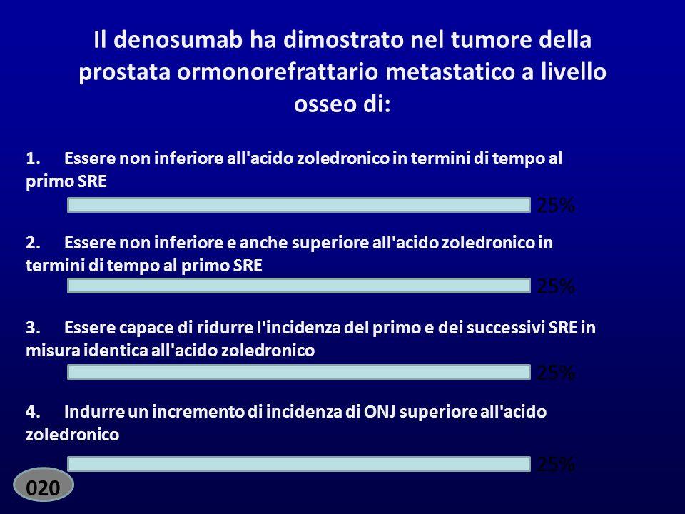 EdiVoteStart EdiVoteStop. Standard. Il denosumab ha dimostrato nel tumore della prostata ormonorefrattario metastatico a livello osseo di: