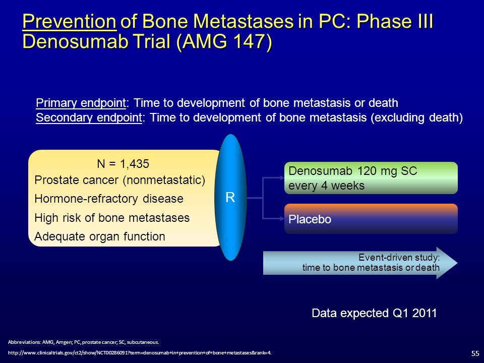 Prevention of Bone Metastases in PC: Phase III Denosumab Trial (AMG 147)