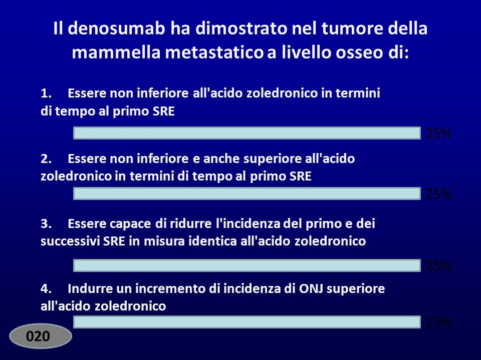EdiVoteStart EdiVoteStop. Standard. Il denosumab ha dimostrato nel tumore della mammella metastatico a livello osseo di: