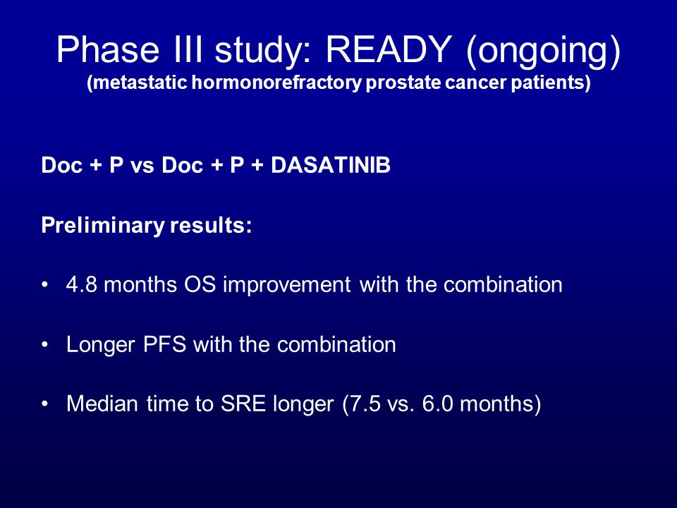 Phase III study: READY (ongoing) (metastatic hormonorefractory prostate cancer patients)