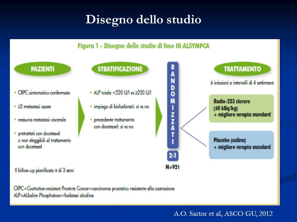 Disegno dello studio A.O. Sartor et al, ASCO GU, 2012