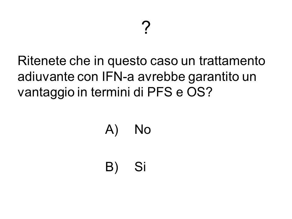 Ritenete che in questo caso un trattamento adiuvante con IFN-a avrebbe garantito un vantaggio in termini di PFS e OS