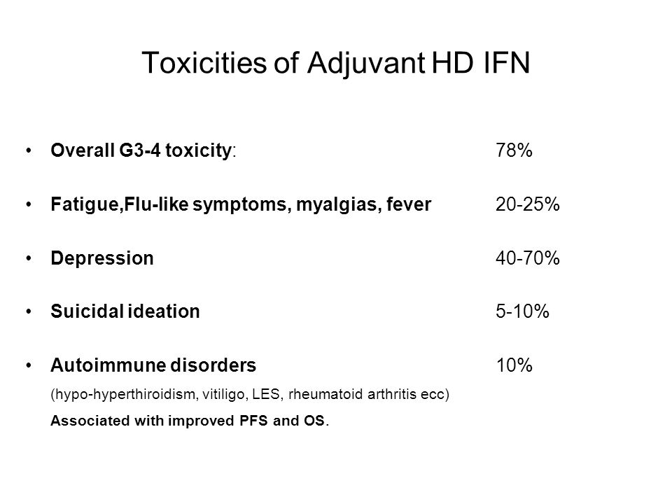 Toxicities of Adjuvant HD IFN