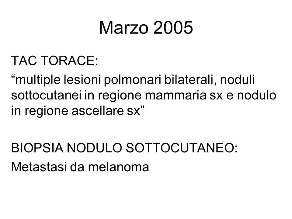 Marzo 2005 TAC TORACE: multiple lesioni polmonari bilaterali, noduli sottocutanei in regione mammaria sx e nodulo in regione ascellare sx