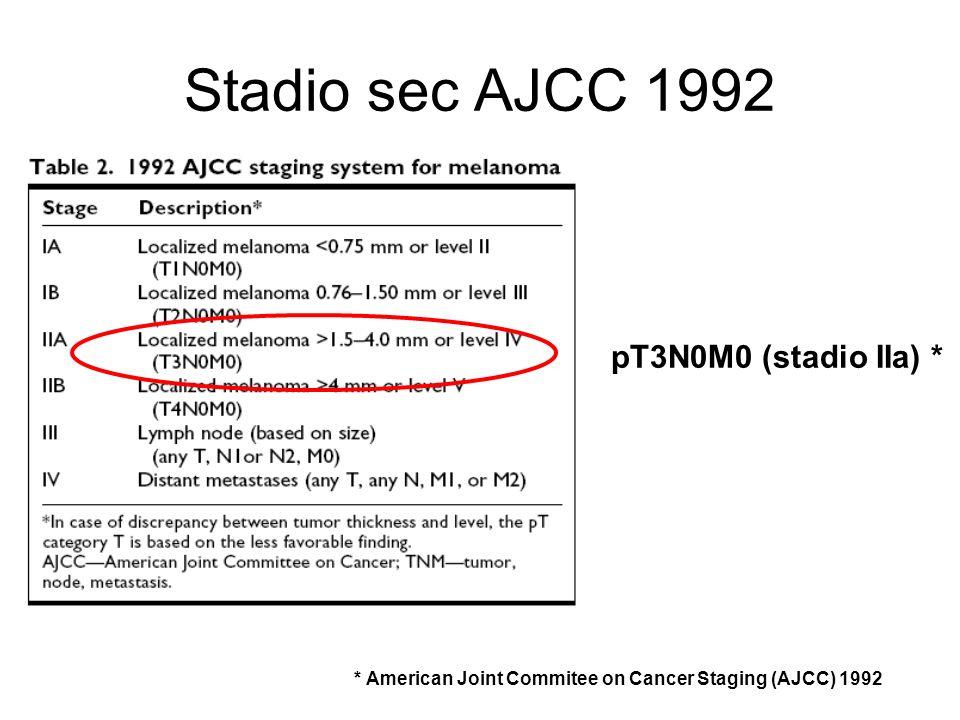 Stadio sec AJCC 1992 pT3N0M0 (stadio IIa) *