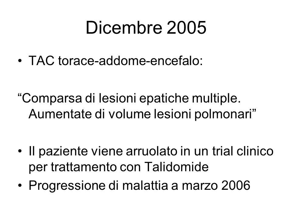 Dicembre 2005 TAC torace-addome-encefalo: