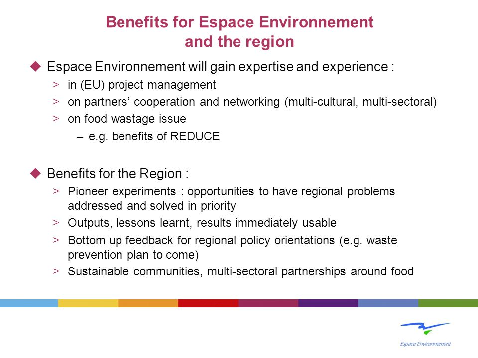 Benefits for Espace Environnement and the region