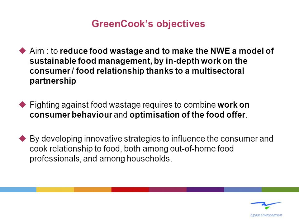 GreenCook's objectives