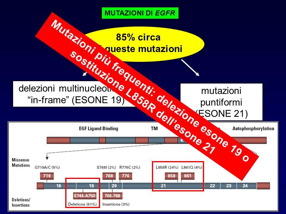 MUTAZIONI DI EGFR 85% circa. di queste mutazioni. delezioni multinucleotidiche. in-frame (ESONE 19)