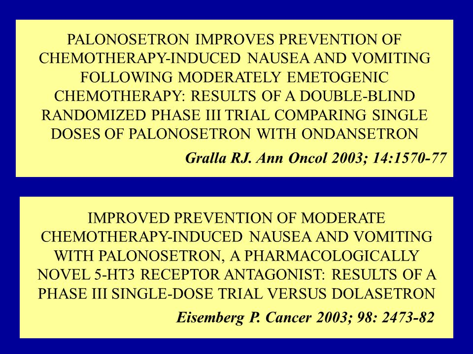 PALONOSETRON IMPROVES PREVENTION OF CHEMOTHERAPY-INDUCED NAUSEA AND VOMITING FOLLOWING MODERATELY EMETOGENIC CHEMOTHERAPY: RESULTS OF A DOUBLE-BLIND RANDOMIZED PHASE III TRIAL COMPARING SINGLE DOSES OF PALONOSETRON WITH ONDANSETRON Gralla RJ. Ann Oncol 2003; 14:1570-77