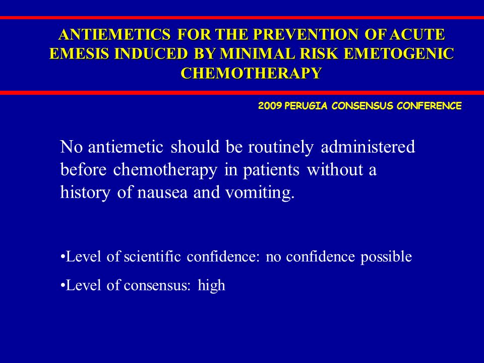 ANTIEMETICS FOR THE PREVENTION OF ACUTE EMESIS INDUCED BY MINIMAL RISK EMETOGENIC CHEMOTHERAPY