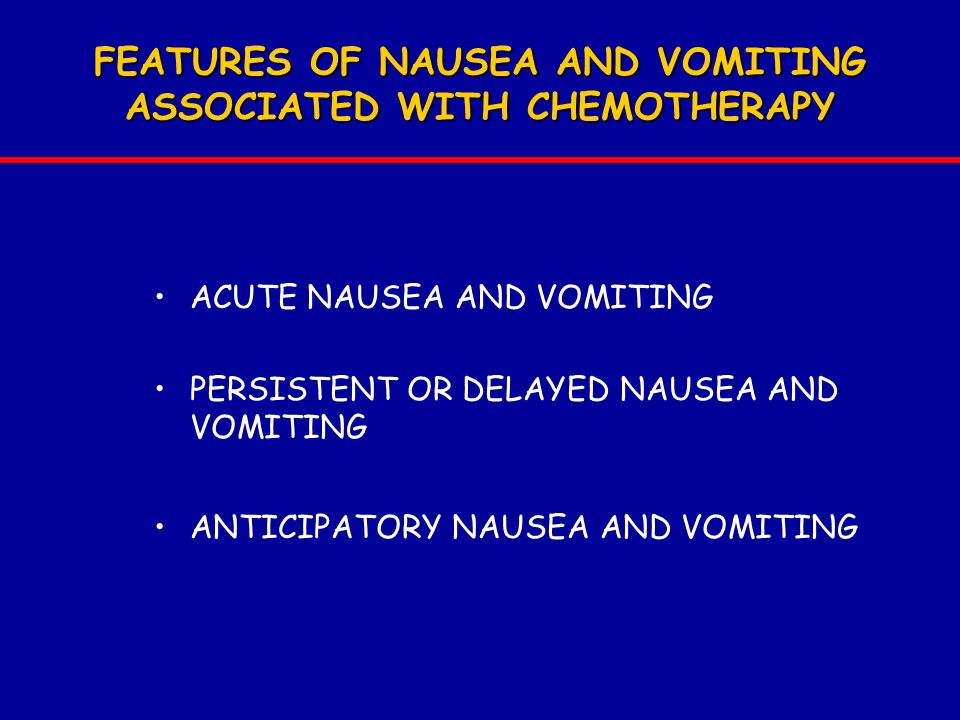 FEATURES OF NAUSEA AND VOMITING ASSOCIATED WITH CHEMOTHERAPY