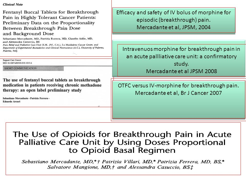 OTFC versus IV-morphine for breakthrough pain.