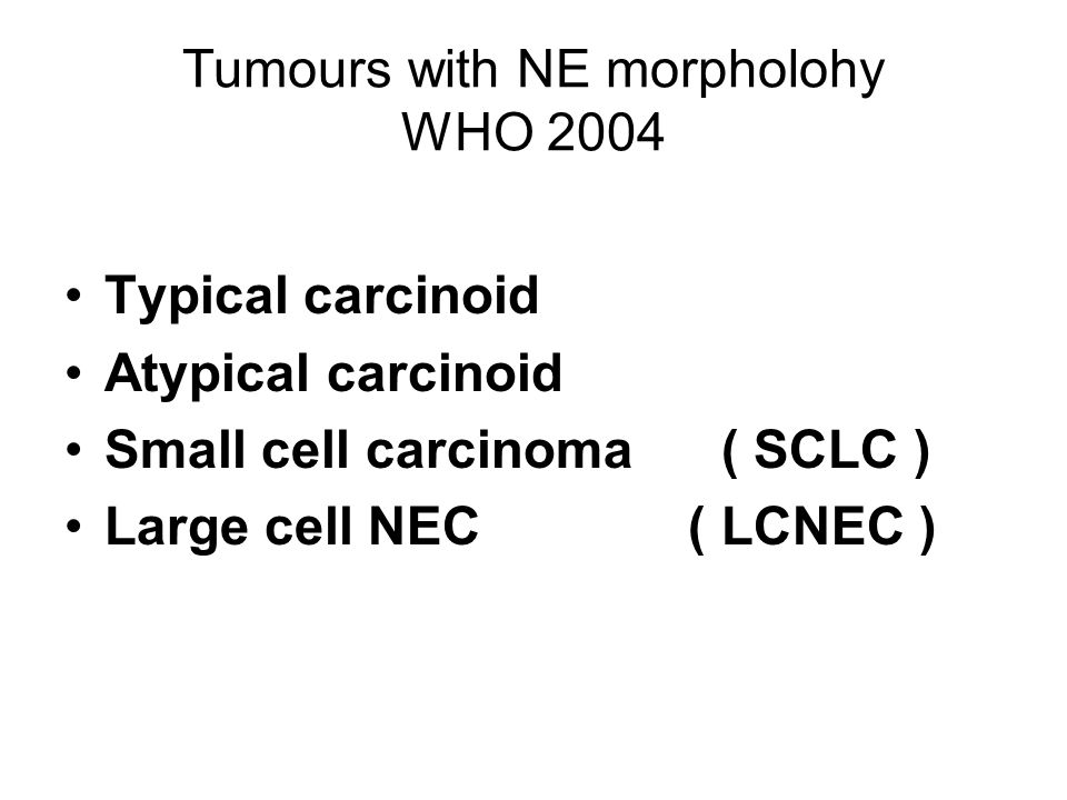 Tumours with NE morpholohy WHO 2004