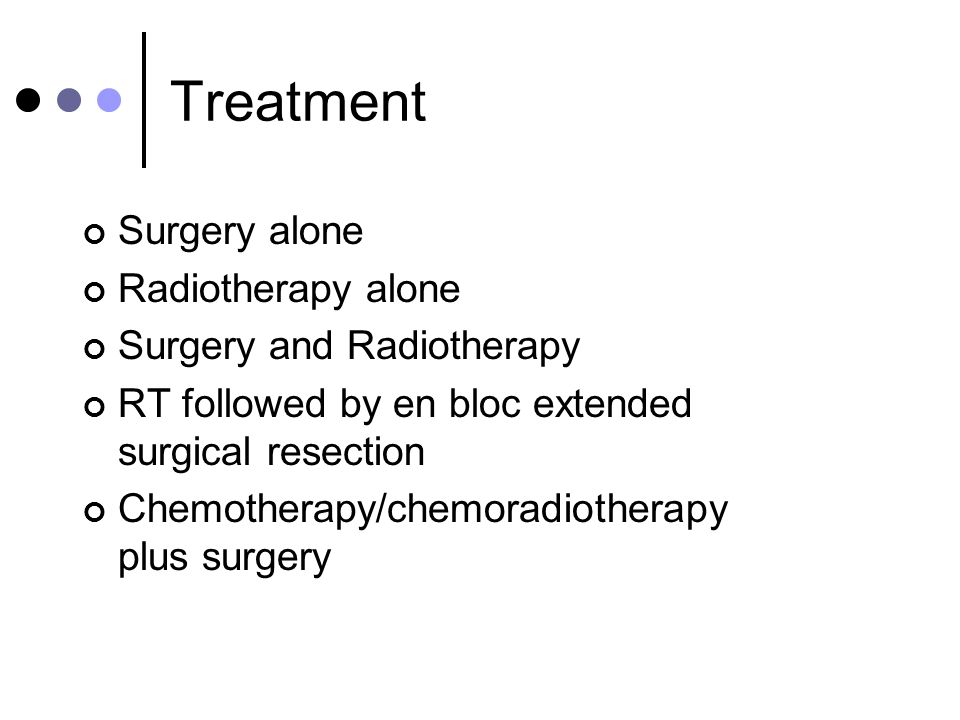 Treatment Surgery alone Radiotherapy alone Surgery and Radiotherapy