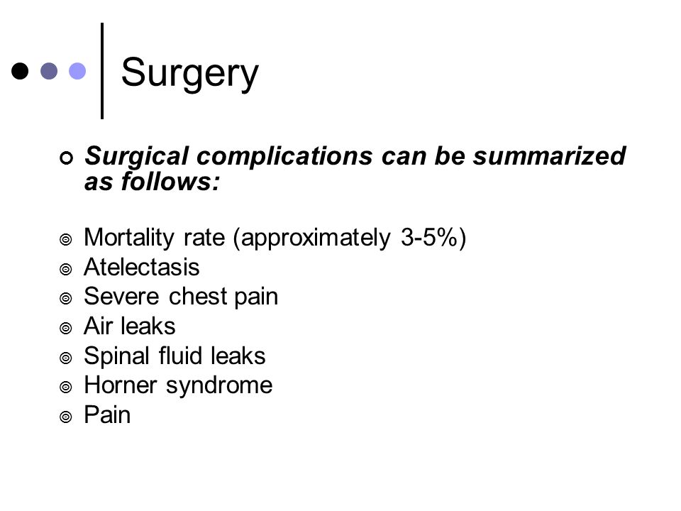 Surgery Surgical complications can be summarized as follows: