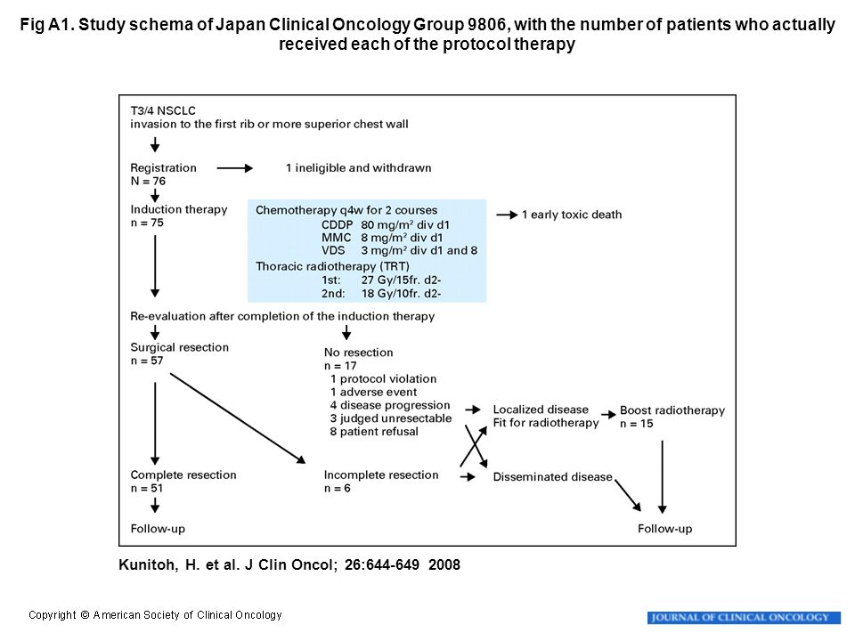 Fig A1. Study schema of Japan Clinical Oncology Group 9806, with the number of patients who actually received each of the protocol therapy