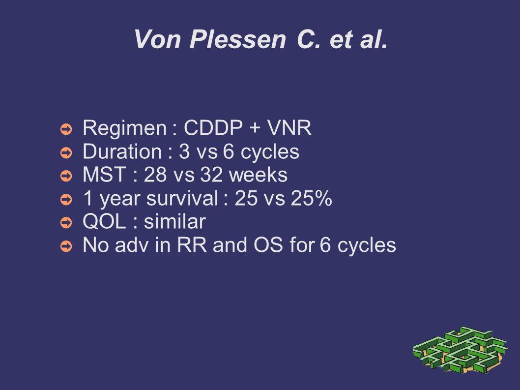 Von Plessen C. et al. Regimen : CDDP + VNR Duration : 3 vs 6 cycles