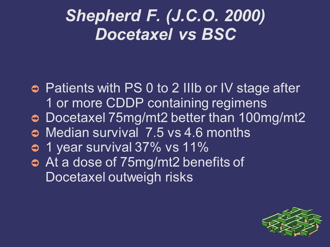 Shepherd F. (J.C.O. 2000) Docetaxel vs BSC