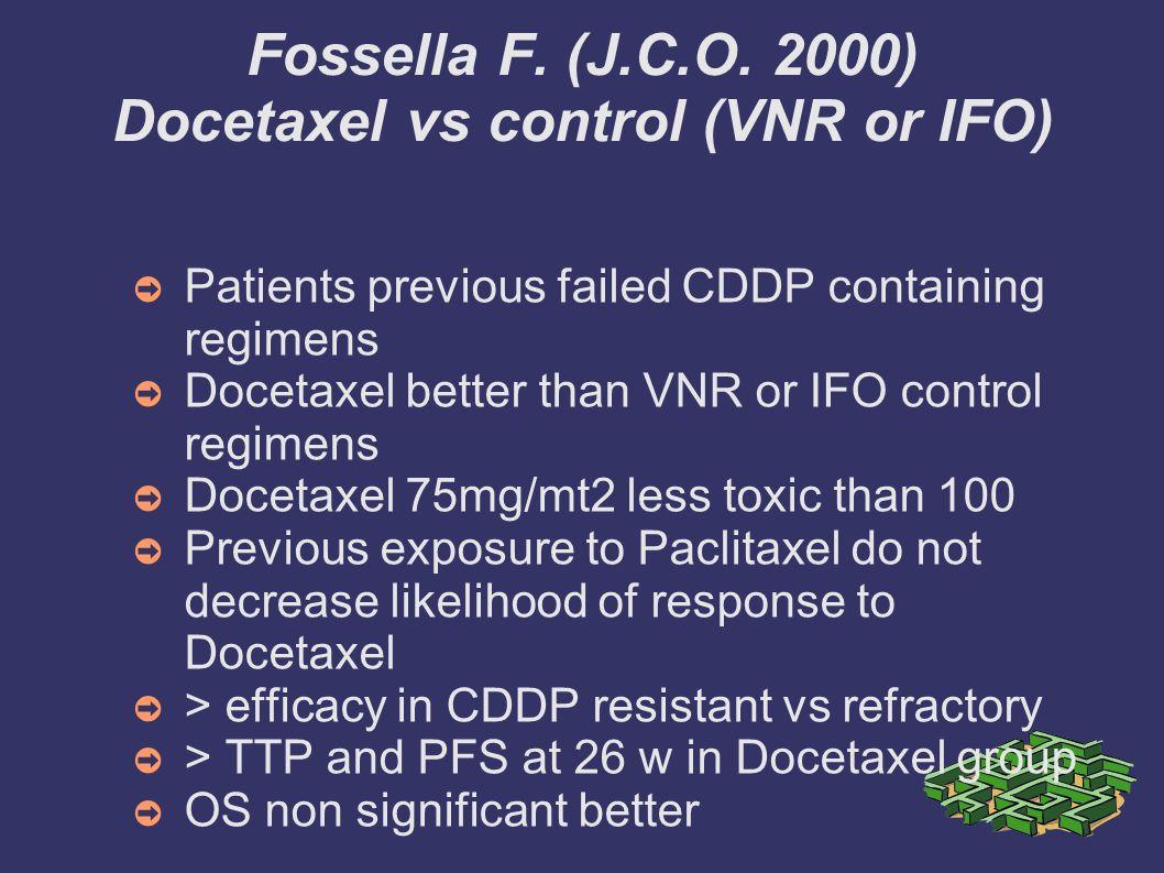 Fossella F. (J.C.O. 2000) Docetaxel vs control (VNR or IFO)