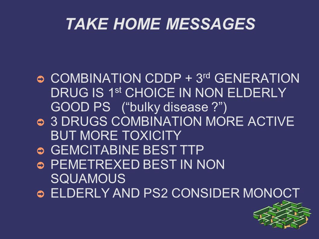 TAKE HOME MESSAGES COMBINATION CDDP + 3rd GENERATION DRUG IS 1st CHOICE IN NON ELDERLY GOOD PS ( bulky disease )
