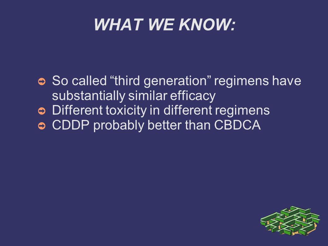 WHAT WE KNOW: So called third generation regimens have substantially similar efficacy. Different toxicity in different regimens.