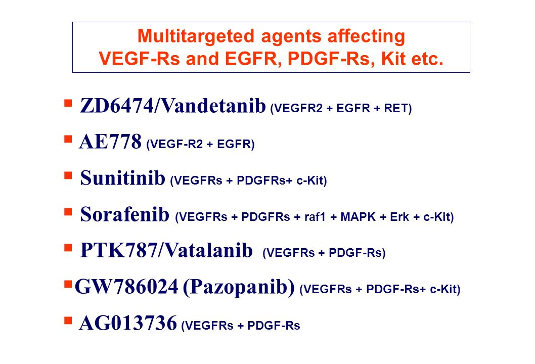 Multitargeted agents affecting VEGF-Rs and EGFR, PDGF-Rs, Kit etc.