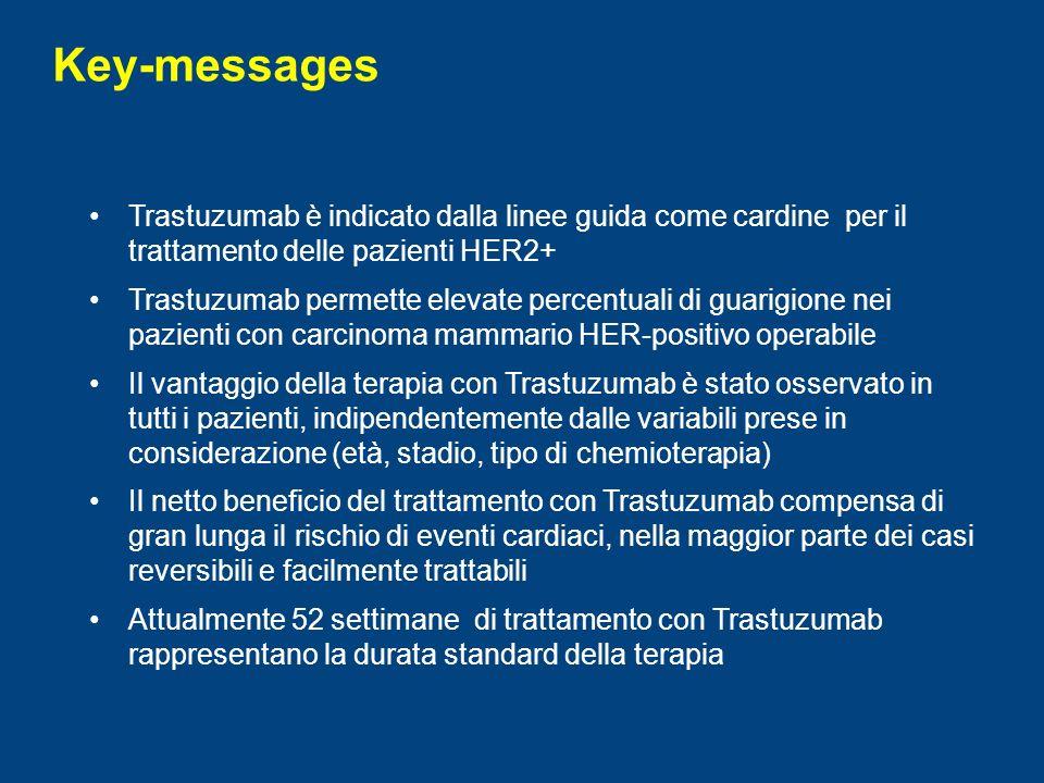 Key-messages Trastuzumab è indicato dalla linee guida come cardine per il trattamento delle pazienti HER2+