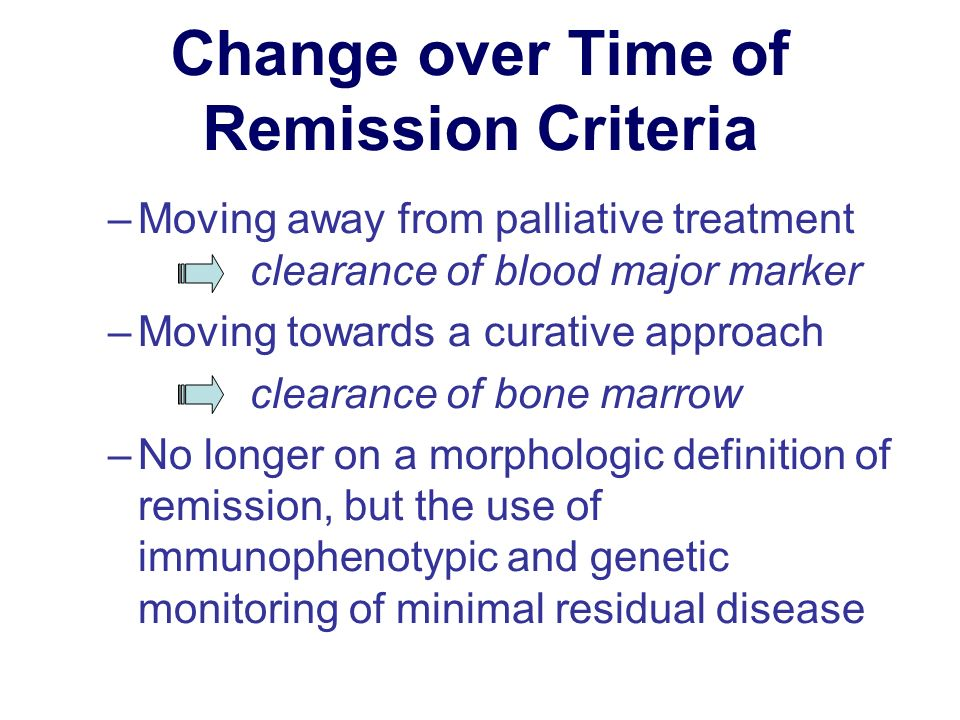 Change over Time of Remission Criteria