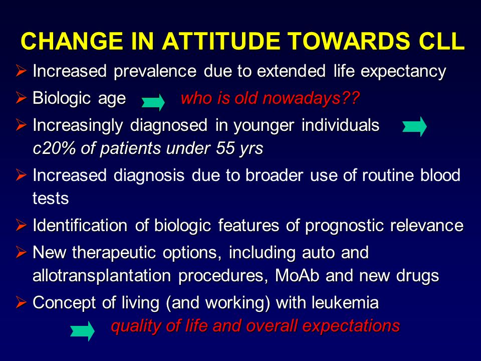CHANGE IN ATTITUDE TOWARDS CLL