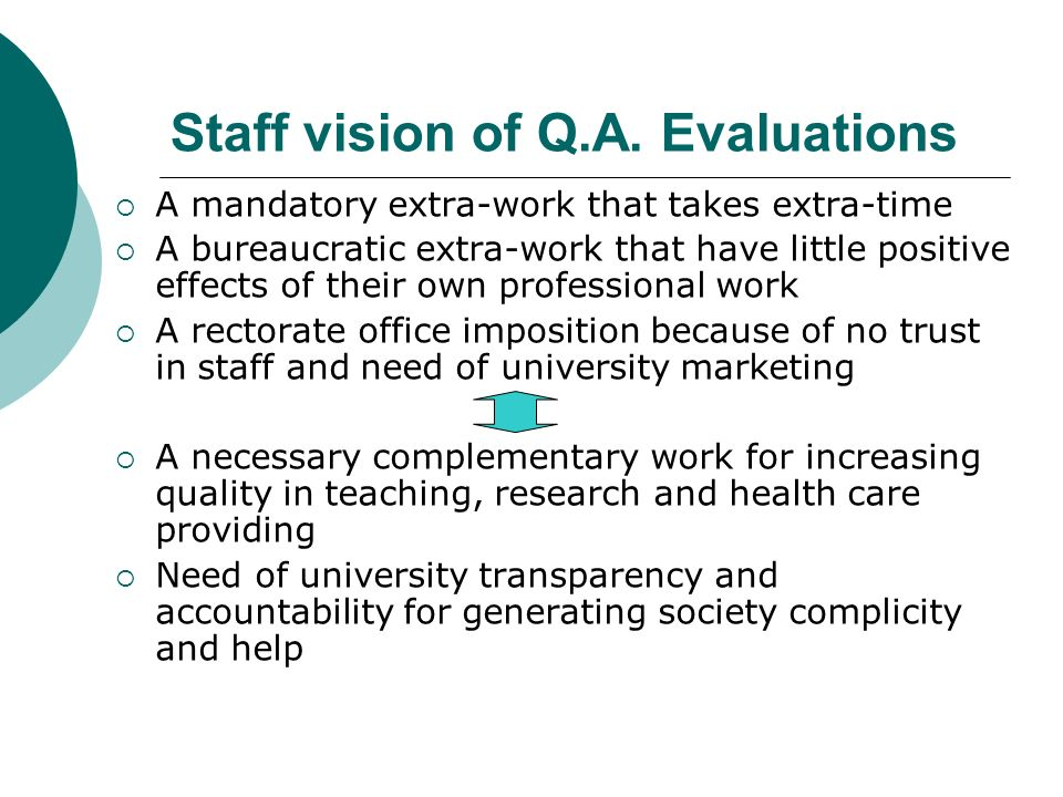 Staff vision of Q.A. Evaluations