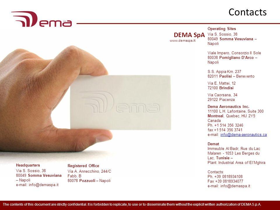 Contacts DEMA SpA Operating Sites Via S. Sossio, 38
