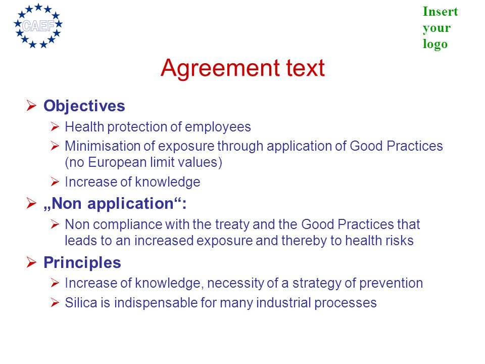 "Agreement text Objectives ""Non application : Principles"