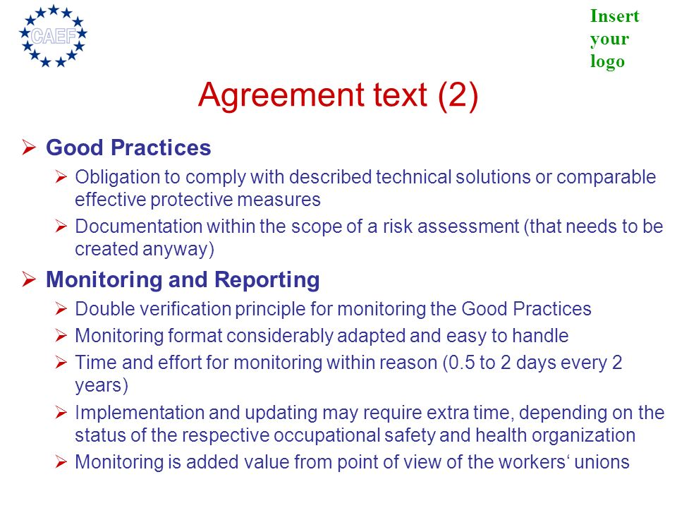 Agreement text (2) Good Practices Monitoring and Reporting