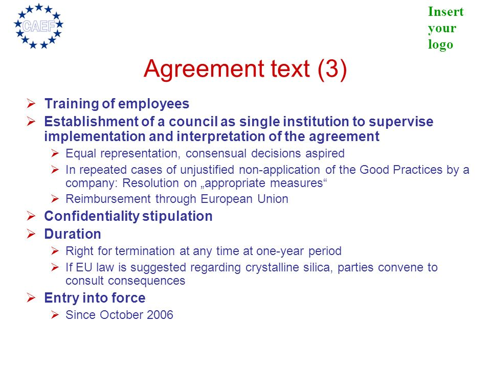 Agreement text (3) Training of employees