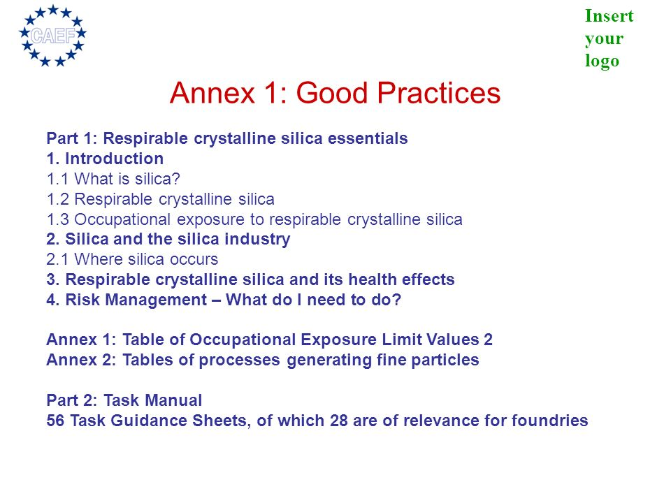 Annex 1: Good Practices Part 1: Respirable crystalline silica essentials. 1. Introduction. 1.1 What is silica