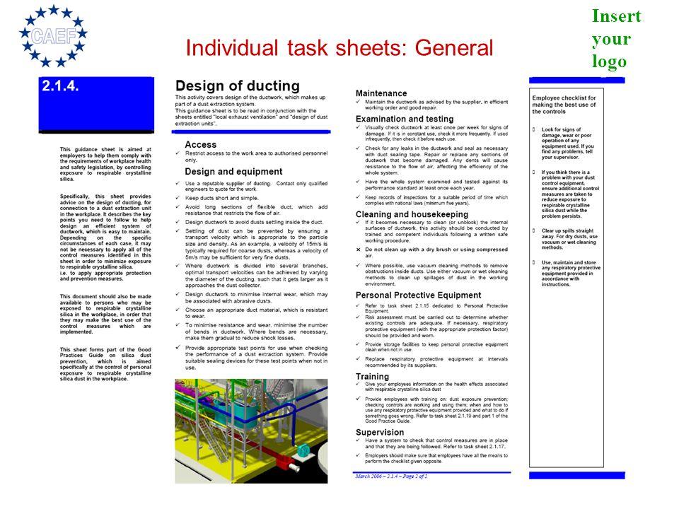Individual task sheets: General