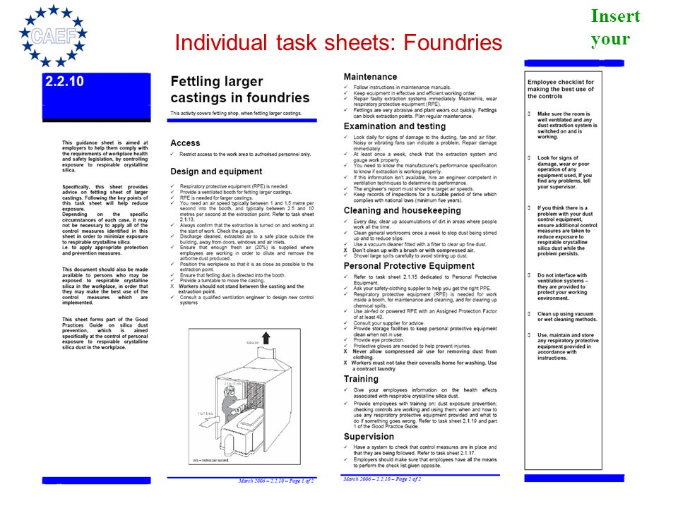 Individual task sheets: Foundries
