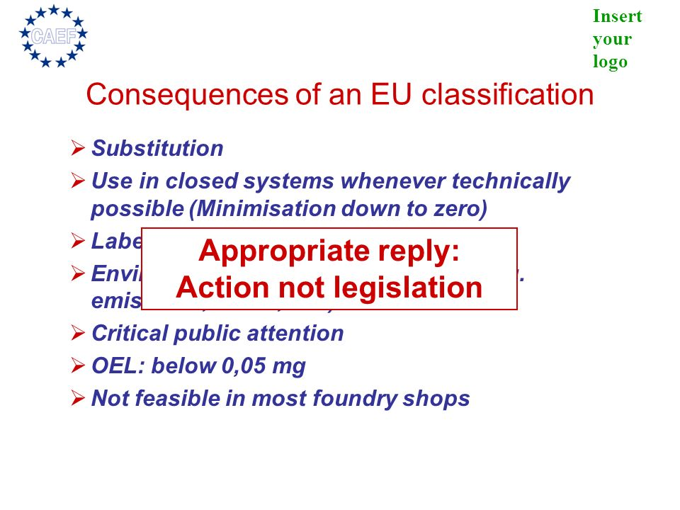Consequences of an EU classification